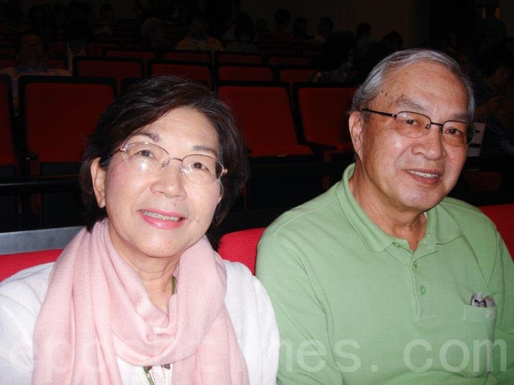 Mr. Fu Singsan along with his wife attended the Shen Yun show in Tainan, on April 13. (Sun Guoying/The Epoch Times)