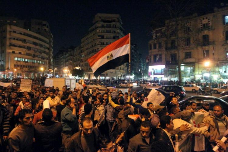Egyptian activists shout slogans against military trials and calling for reforms during a march in downtown Cairo on March 27, 2011. (Khaled Desouki/AFP/Getty Images)