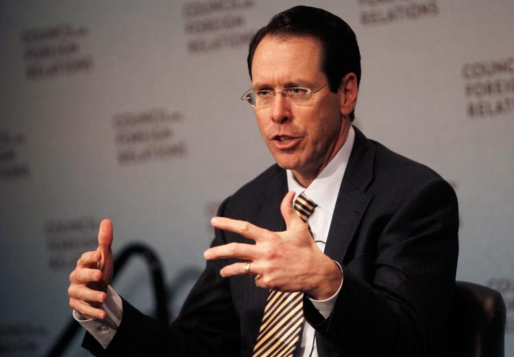 HIGHER EARNINGS: Randall L. Stephenson, CEO and President of AT&T, speaks during a forum at the Council on Foreign Relations March 30 in New York City. AT&T said this week that it reported a 39 percent increase in quarterly profit. (Chris Hondros/Getty Images)