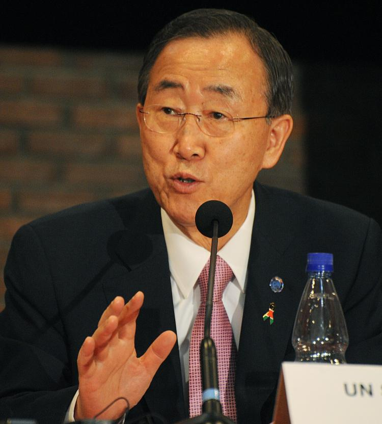 UN Secretary-General, Ban Ki-moon (C) speaks during a press conference on March 31, 2011 in Nairobi.  (Stringer/Getty Images)