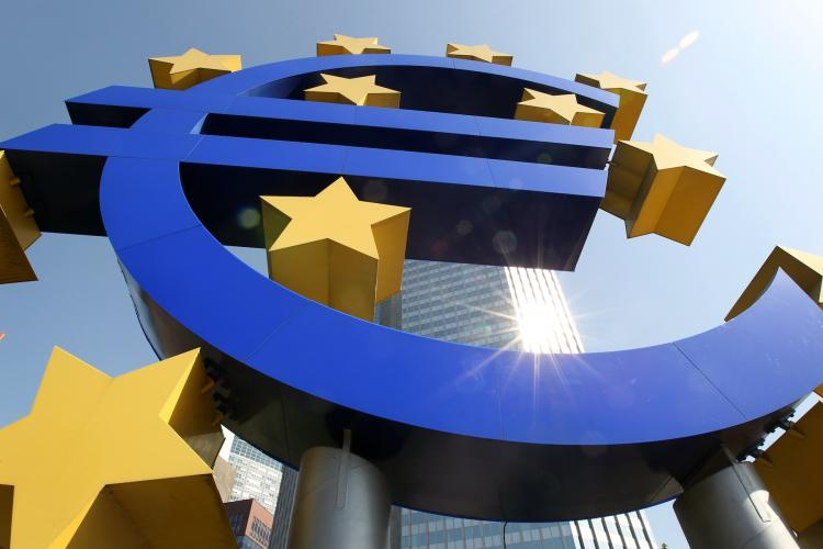 The logo of the European currency Euro stands in front of the European Central Bank (ECB) in Frankfurt/M., western Germany, on April 7. The EU economy has posted an impressive 0.8 percent growth in the first quarter of 2011. (Daniel Roland/Getty Images)