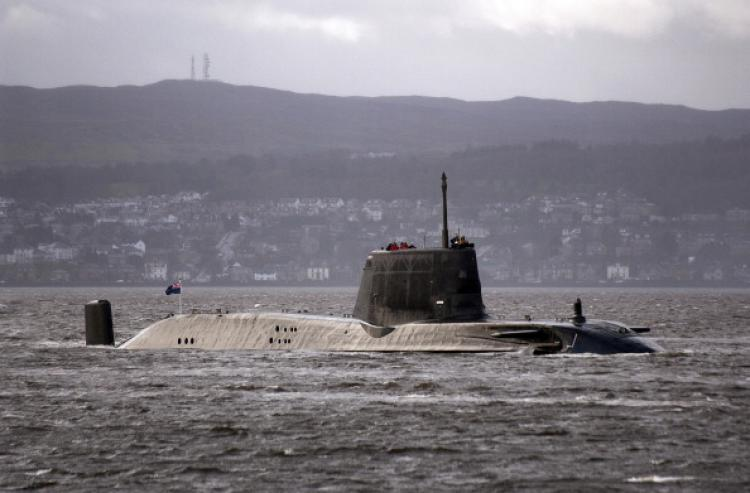 HMS Astute, billed as the Royal Navy's most powerful attack submarine,  en-route to Faslane on the Firth of Cylde, south-west Scotland, on November 20, 2009. (Andy Buchanan/AFP/Getty Images)
