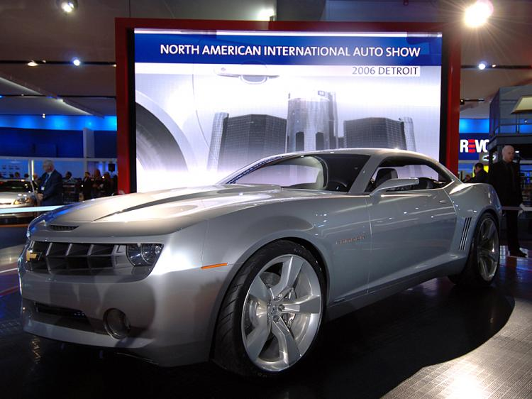 The Chevrolet Camaro Concept car is shown on the final press preview day at the North American International Auto show January 10, 2006 in Detroit, Michigan.   (Bryan Mitchell/Getty Images)