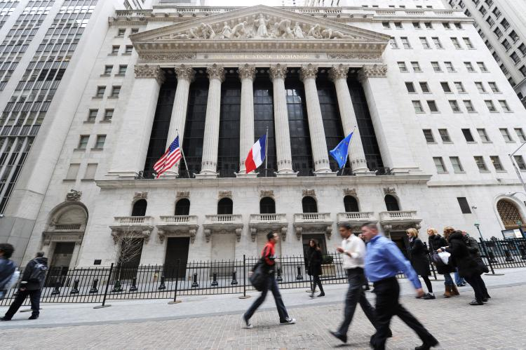 View of the New York Stock Exchange on April 18, 2011. Markets were down after Standard & Poor's issued a negative outlook on US debt. (Stan Honda/AFP/Getty Images)