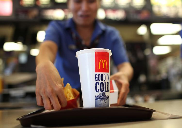 A McDonald's employee prepares an order during a one-day hiring event at a McDonald's restaurant on April 19, 2011 in San Francisco, California. (Justin Sullivan/Getty Images)