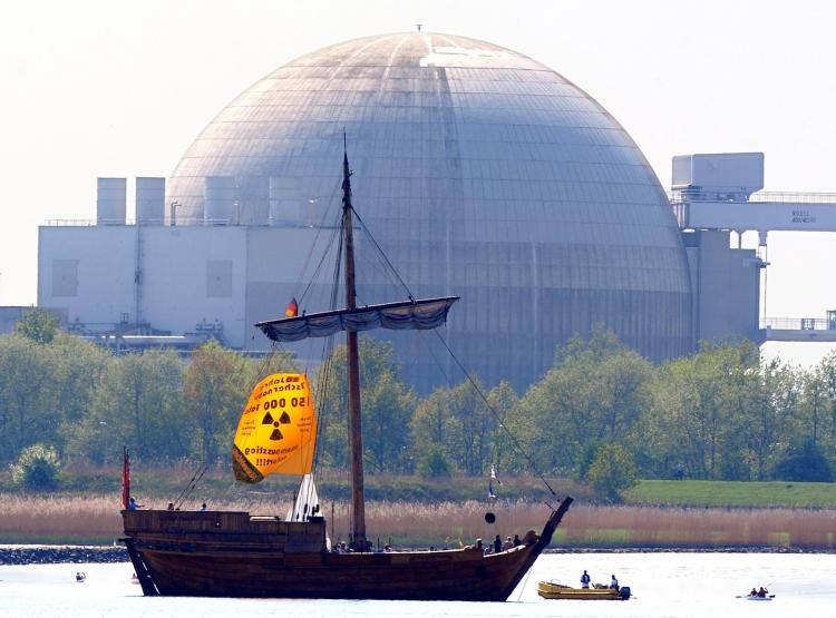 Anti-nuclear activists use a ship during a protest against the Unterweser nuclear power plant near in the northern German city of Kleinensiel on April 25, 2011.  (Ingo Wagner/Getty Images)