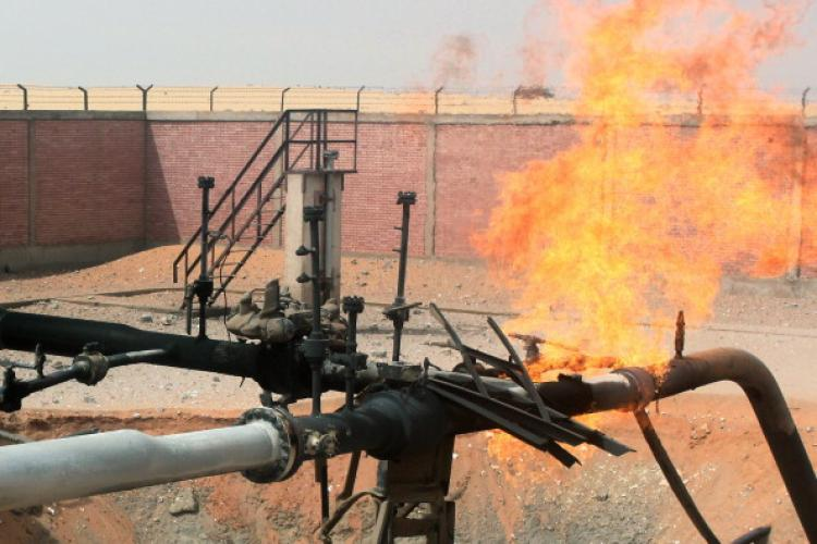 Flames shoot into the sky from a gas pipeline after unknown saboteurs bombed the Egyptian pipeline near the village of Al-Sabil in the El-Arish region of the Sinai on April 27, 2011. (AFP/Getty Images)