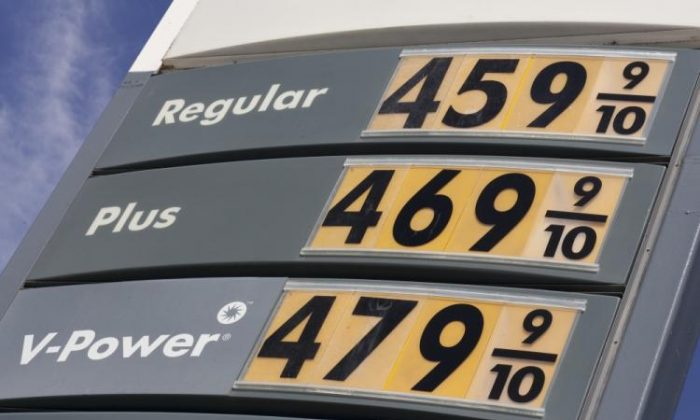 A sign showing the price for gasoline is displayed at a Shell gas station in San Francisco, Calif., on April 27, 2011. (David Paul Morris/Getty Images)