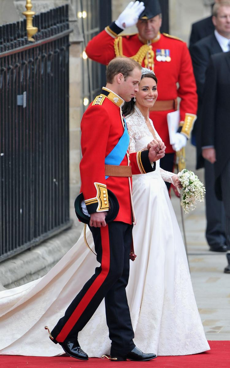 Their Royal Highnesses Prince William, Duke of Cambridge and Catherine, Duchess of Cambridge leave Westminster Abbey on April 29 in London. (Dan Kitwood/Getty Images)