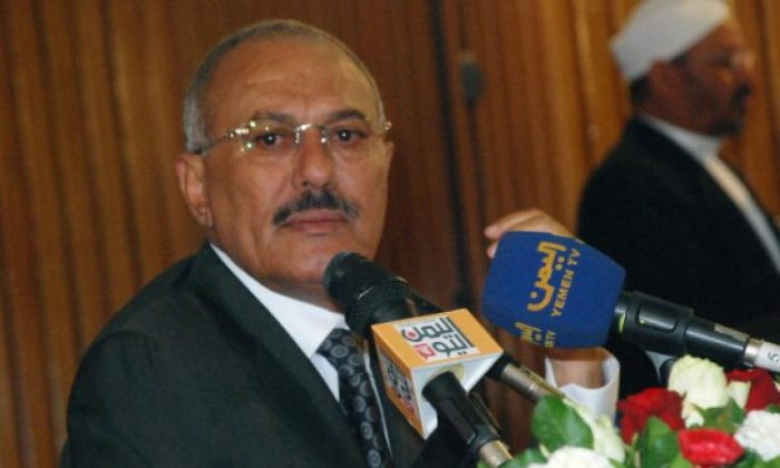 Yemen's President Ali Abdullah Saleh speaks to the press, in the capital Sanaa, on May 22.  (Gamal Noman/AFP/Getty Images)