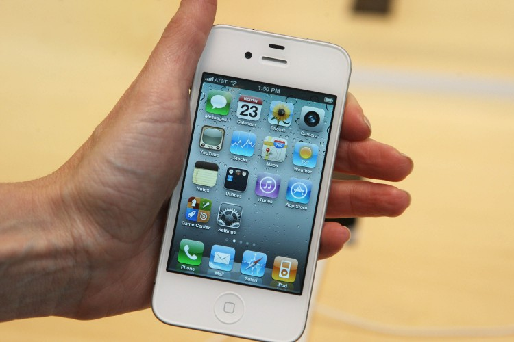 The white iPhone 4 is shown at an Apple Store last May in New York City. Lately rumors have been circling around regarding the iPhone 5's design and release date. (Daniel Barry/Getty Images)