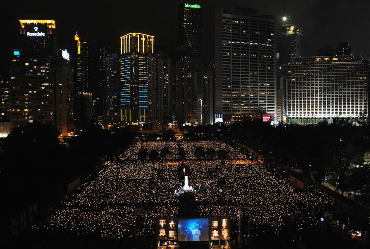 Pro-democracy groups hope to draw 150,000 people to the annual candlelight vigil in Hong Kong's Victoria Park, the only commemoration on Chinese soil, to remember the 22nd anniversary of the bloody 1989 Tiananmen Massacre crackdown.  (Mike Clarke/Getty Images)