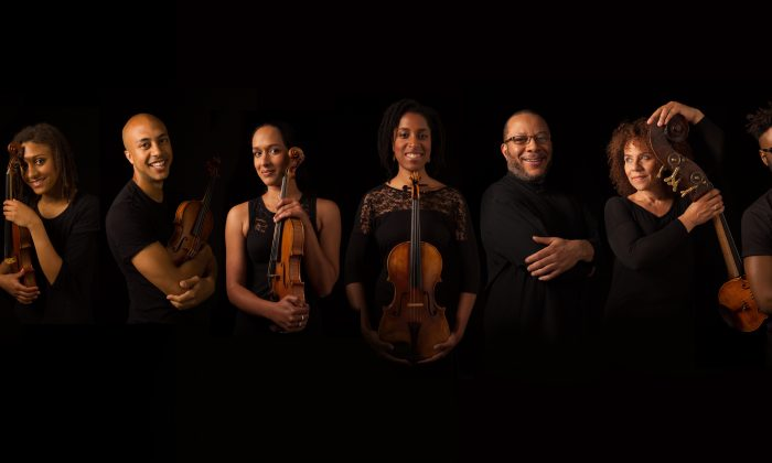 Members of the Chineke! Professional orchestra with Chi-chi Nwanoku third from the right. (Eric Richmond)