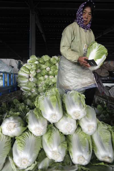 Cabbages in China market