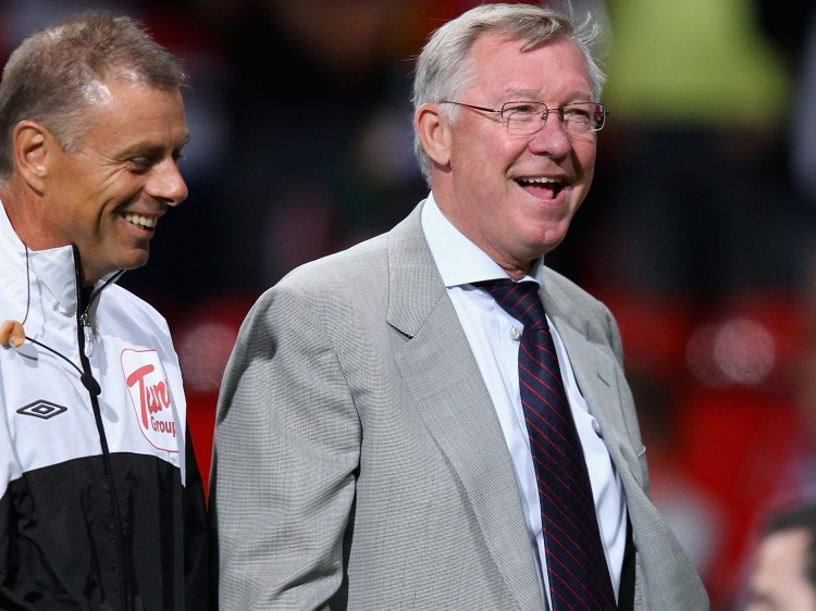 Manchester United manager Sir Alex Ferguson after victory in the Barclays Premier League match between Manchester United and Tottenham Hotspur, on Aug.  22, 2011 in Manchester.  (Alex Livesey/Getty Images)