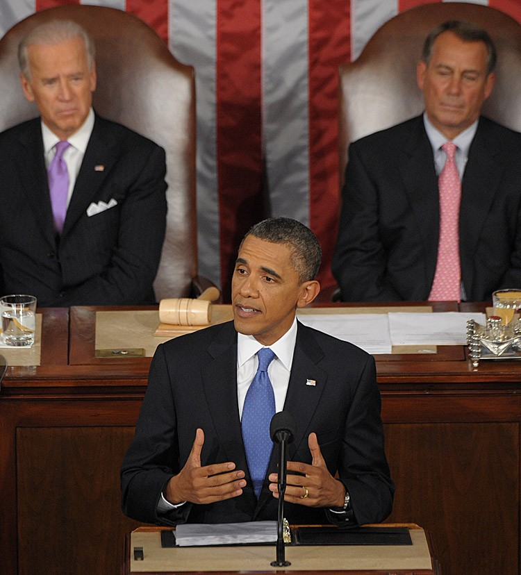 US President Barack Obama addresses a Joint Session of Congress about the US economy and job creation at the US Capitol in Washington, September 8. (SAUL LOEB/AFP/Getty Images)