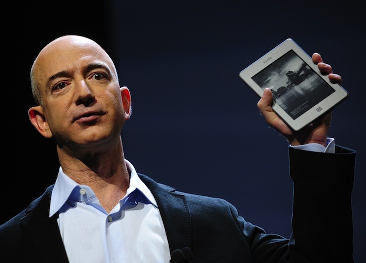 Amazon CEO Jeff Bezos introduces the new Kindle Touch in New York, Sept. 28. Bezos introduced a line of four new Kindle products, the Kindle Fire tablet, the Kindle Touch 3G, the Kindle Touch and a new lighter and smaller Kindle. (Emmanuel Dunand/Getty Images)