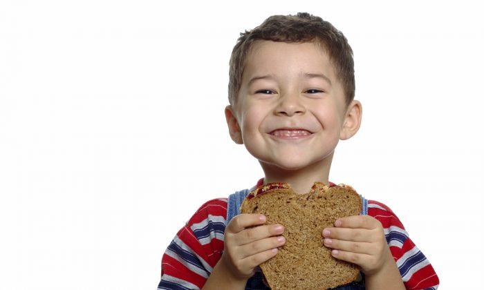 Cute boy ready to eat a peanut butter and jelly sandwich on whole wheat bread (HughStoneIan/iStock)