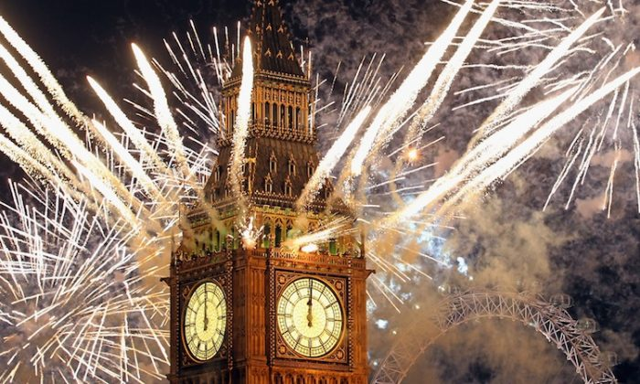 Fireworks light up the London skyline and Big Ben just after midnight in London on Jan. 1, 2012. (Dan Kitwood/Getty Images)