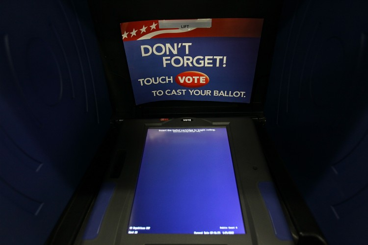 A South Carolina voting booth is shown at the Shandon Fire Station