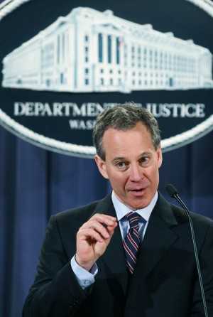 New York Attorney General Eric Schneiderman speaks during a news conference at the Justice Department on January 27, in Washington