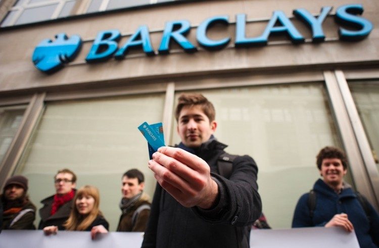 Barclays  cut card protest 2012