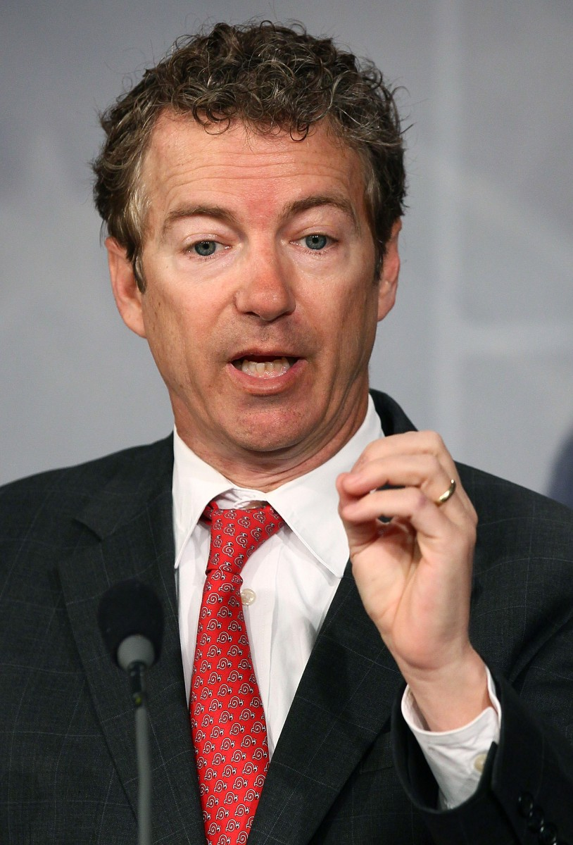 Sen. Rand Paul (R-KY) talks during a news conference