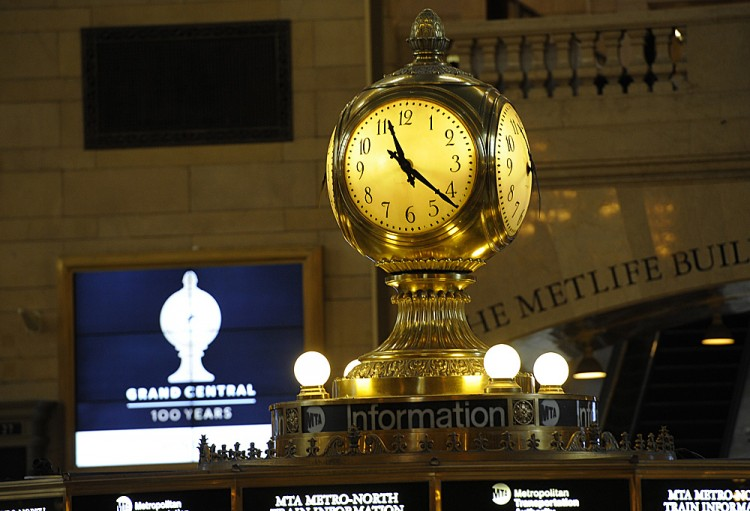 Grand Central Station's most well-known icon, the clock (C) atop the main hall information booth.