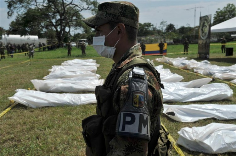 A military police officer stands guard at the Apiay air base in Colombia