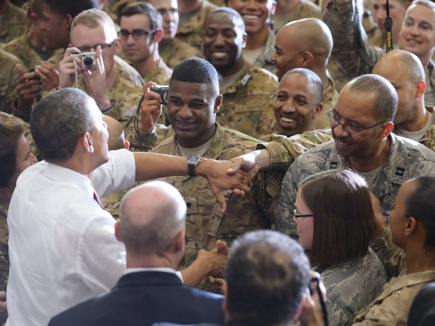 President Barack Obama greets troops during a visit to Bagram Airfield