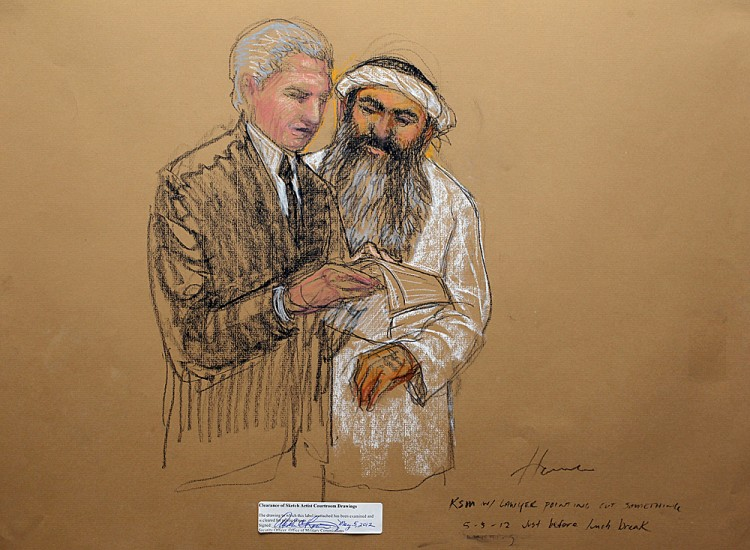 In this courtroom drawing, Khalid Sheik Mohammed consults his attorney