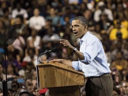 US President Barack Obama speaks during a campaign event