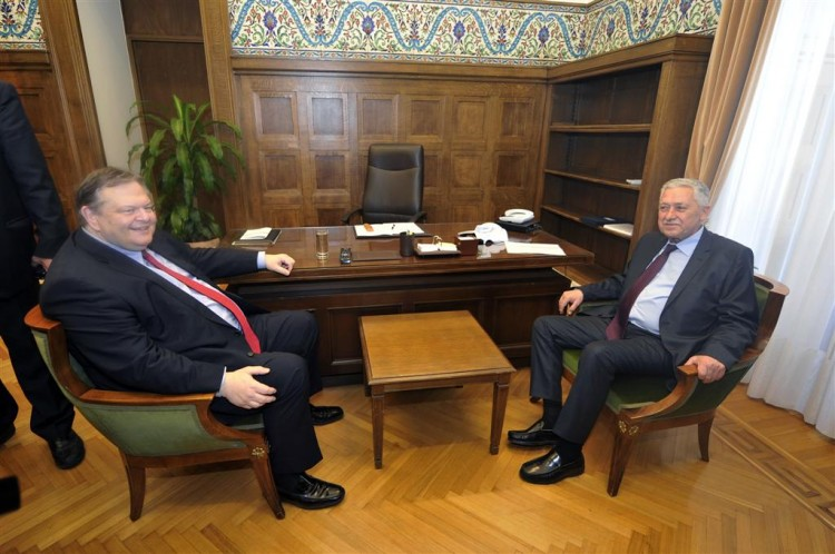 Leader of the left-wing Dimar party, Fotis Kouvelis meets with socialist leader Evangelos Venizelos