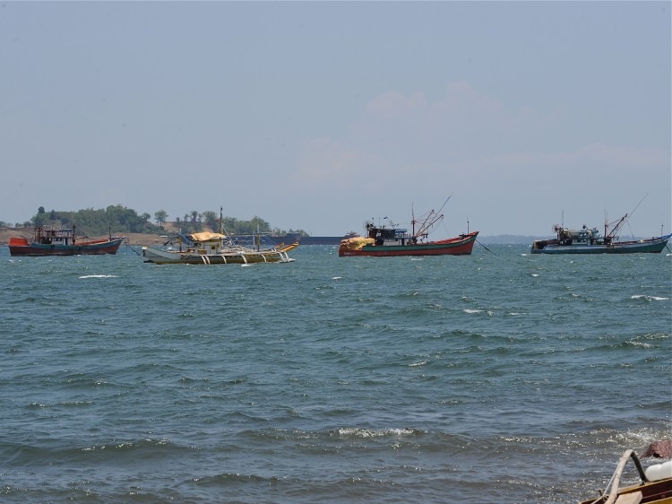 Fishing boats, locally known as 'mother boats' which are used to transport fish
