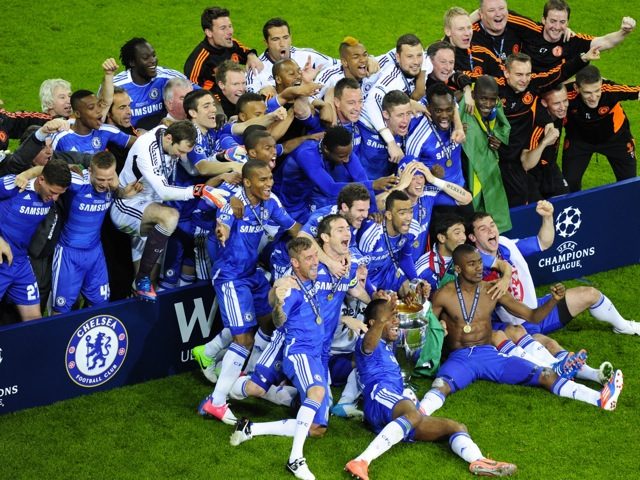 Chelsea players celebrate after being crowned champions of European club
