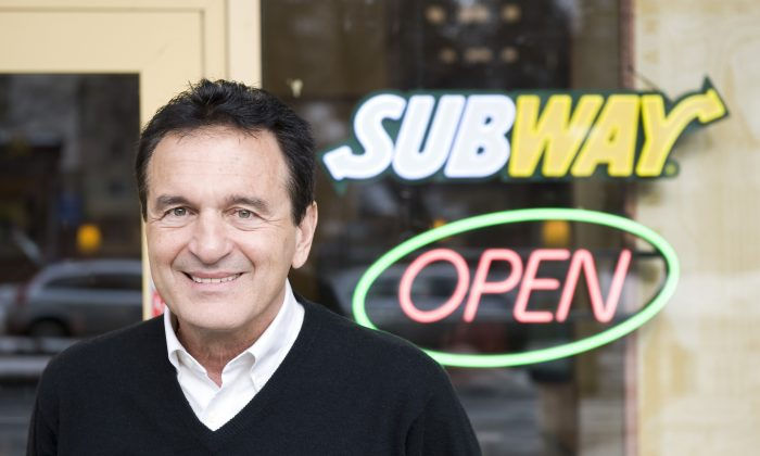 Fred DeLuca, President and founder of sandwich maker Subway, in front of a Subway restaurant in Stockholm on March 10, 2011. (Jonathan Nackstrand/AFP/Getty Images)