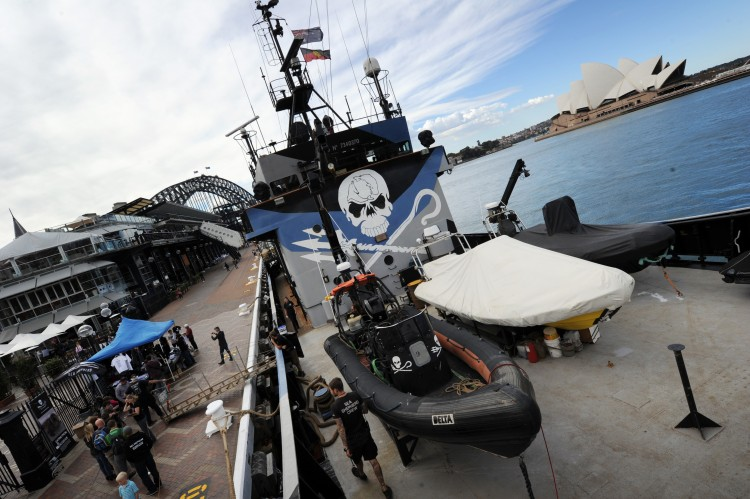 A general view shows the environmental activist Sea Shepherd's main ship, the Steve Irwin, docked at the Sydney harbor after arriving on Aug. 31, 2012. (Romeo Gacad/AFP/Getty Images)