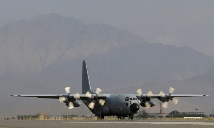 A Lockheed C-130 Hercules preparing for take off in Kabul Afghanistan, August 2012. (Alexander Klein/AFP/GettyImages)