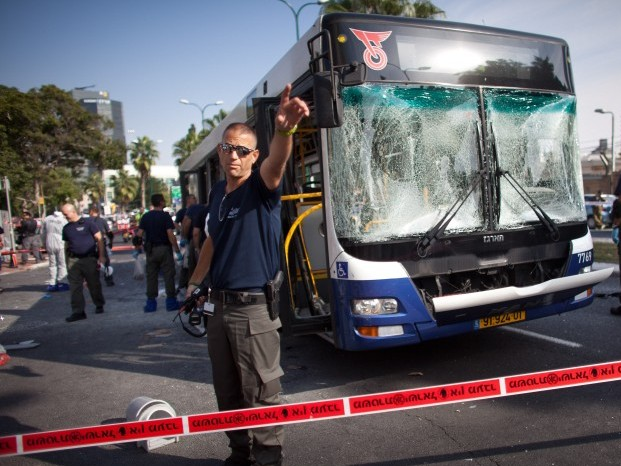 A bus targeted by a terrorist attack on Wednesday is seen in Tel Aviv.