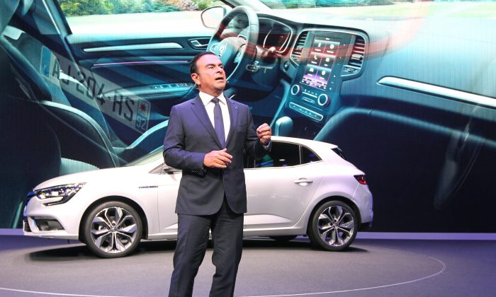 Renault CEO Carlos Ghosn presents the new Renault Megane car at the 66th IAA auto show in Frankfurt am Main, western Germany, on September 15, 2015. (DANIEL ROLAND/AFP/Getty Images)