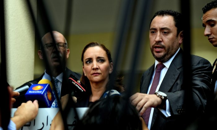 Mexican Foreign Minister Claudia Ruiz Massieu (C) gives a press conference after arriving to meet survivors of an Egyptian air strike that mistakenly killed eight Mexican tourists, at a hospital in Cairo on September 16, 2015. (Mohamed El-Shahed/AFP/Getty Images)