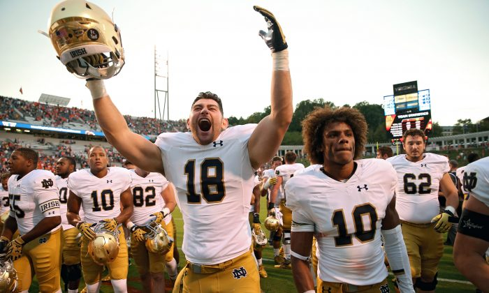 The eighth-ranked Notre Dame Fighting Irish are 2–0 and aiming for one of the four coveted playoff spots at season's end. (Patrick Smith/Getty Images)