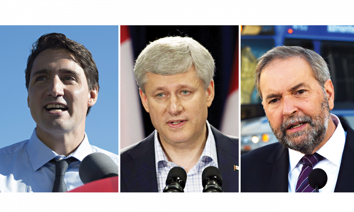 The cost of campaign promises came up for discussion on the campaign trail Sept. 16, ahead of the debate on the economy in Calgary the following evening. (The Canadian Press/Jonathan Hayward/ Adrian Wyld/ Sean Kilpatrick)