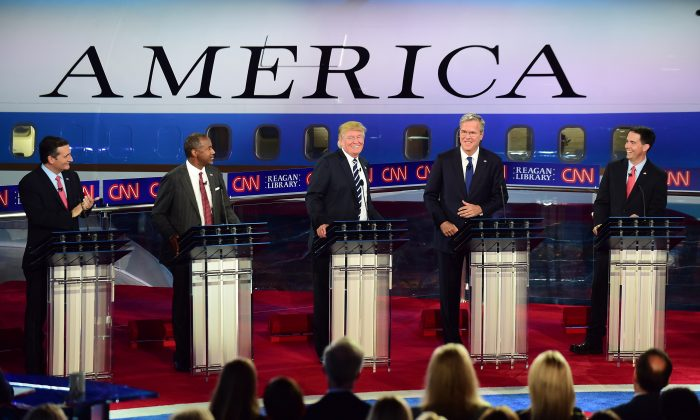 Republican presidential hopefuls Ted Cruz, Ben Carson, Donald Trump, Jeb Bush, and Scott Walker participate in the Republican Presidential Debate at the Ronald Reagan Presidential Library in Simi Valley, California on September 16, 2015.  (Frederic J Brown/AFP/Getty Images)