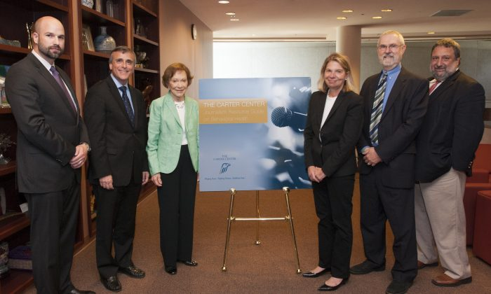 Former First Lady Rosalynn Carter (3L) at the Mental Health Journalism Guide Launch at the Carter Center, in Atlanta, on Sept. 16, 2015. (The Carter Center)