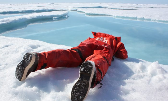 Above, a scientist sips freshwater from an Arctic meltpond. (Kathryn Hansen/NASA via NASA Goddard Space Flight Center)