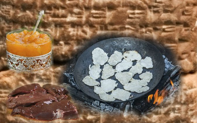 Left: A file photo of apricot butter (Lesyy/iStock) A file photo of liver (Jamie Rogers1/iStock) Right: A file photo of ancient flat bread cooked on a fire. (Photokon/iStock) Background: A file photo of a Hittite tablet. (Fae/CC BY-SA)