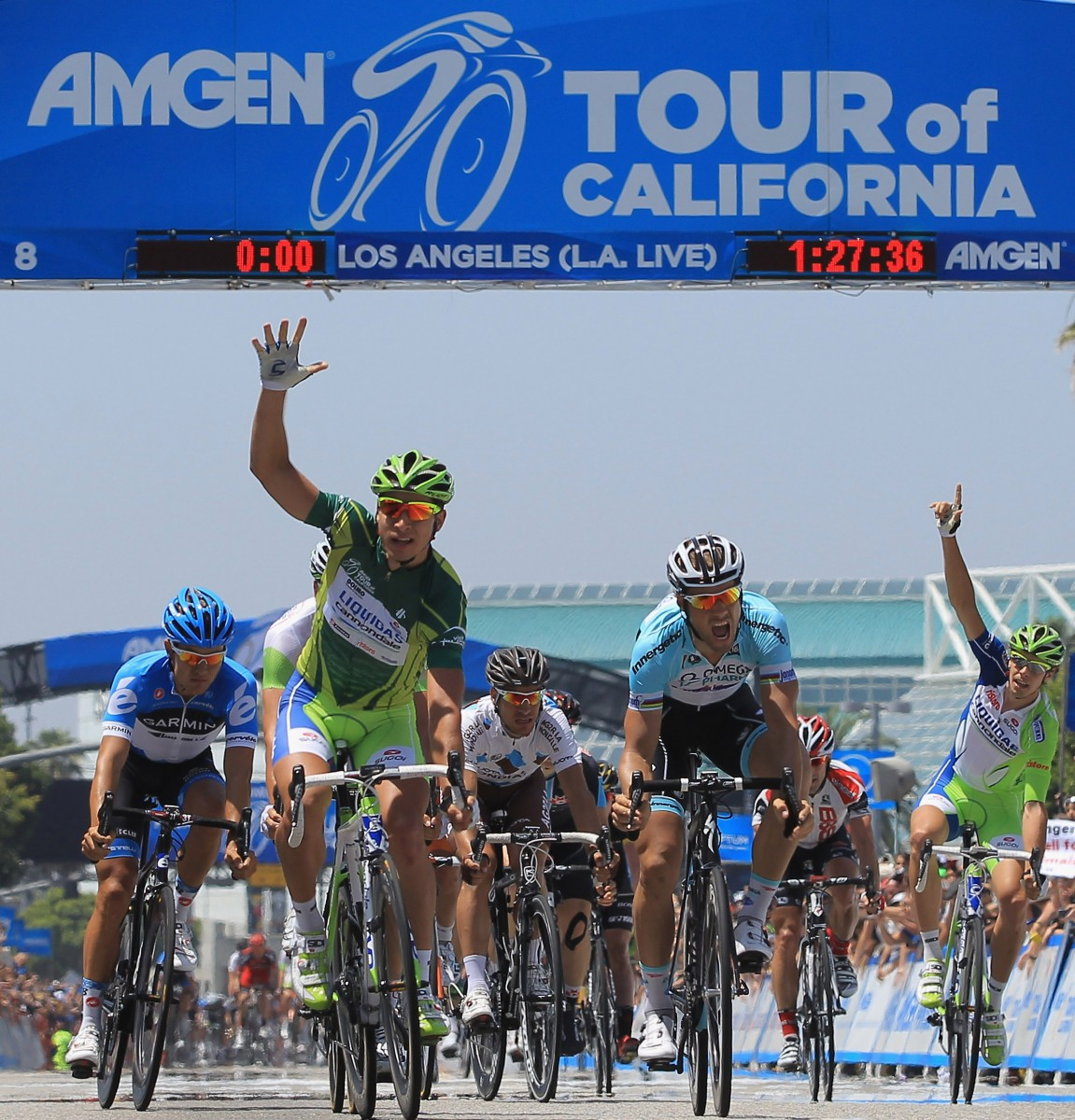 Peter Sagan (2L) of Slovakia of Liquigas-Cannondale celebrates his fifth stage victory in Stage Eight of the Amgen Tour of California. (Doug Pensinger/Getty Images)