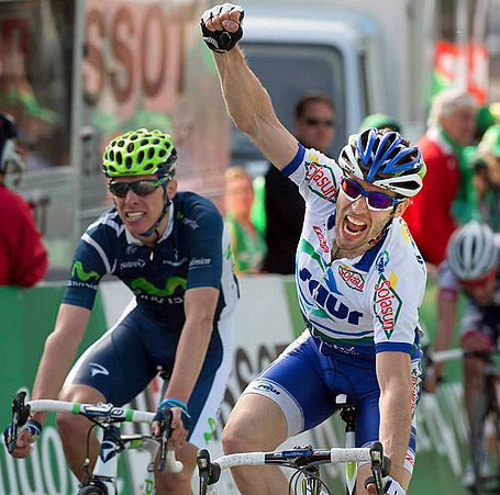 Jonathan Hivert of Saur Sojasun won the final sprint of Stage Two of the Tour of Romandie. Saur Sojasun