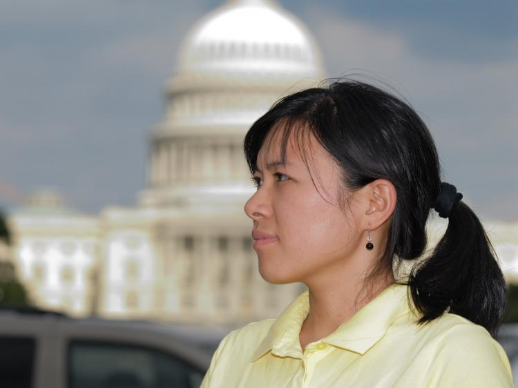 Ms. Jin Pang seen at the Washington Mall with the U.S. Capitol in the background, on July 19, 2009, in Washington, D.C. (Jim Giragosian/Epoch Times Staff)